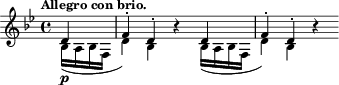 "\relative c' { \time 4/4 \key bes \major \clef treble \tempo ""Allegro con brio."" \partial 4 << {d4-\p f-. d-.} \\ {bes16( a bes f d'4) bes} >> r4 << {d4 f-. d-.} \\ {bes16( a bes f d'4) bes} >> r4 }"