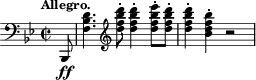 "\relative c, { \time 2/2 \key bes \major \clef bass \tempo ""Allegro."" \partial 8 bes8-\ff <d'' bes f>4. \clef treble <d'' bes f d>8-. <d bes f d>4-. <ees bes f d>8-. <d bes f d>-. <d bes f d>4-. <bes f d bes>-. r2 }"